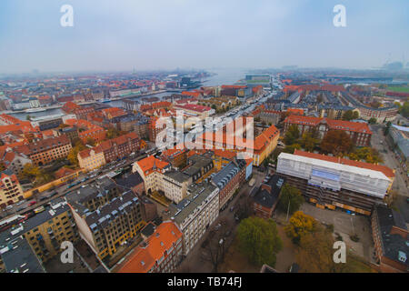Copenhagen Christianshavn center skyline city view at the autumn - Stock Photo