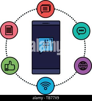 smartphone device with social media icons - Stock Photo