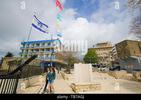 Safed, Israel - April 16, 2019: View of Safed, a city in the Northern District of Israel. Located at an elevation of 900 metres, Safed is the highest  - Stock Photo