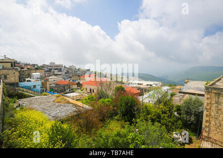 View of Safed, a city in the Northern District of Israel. Located at an elevation of 900 metres, Safed is the highest city in the Galilee and in Israe - Stock Photo