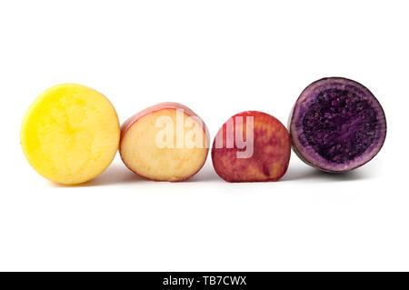 Potatoes with different pigmentation (Solanum tuberosum) on a white background - Stock Photo