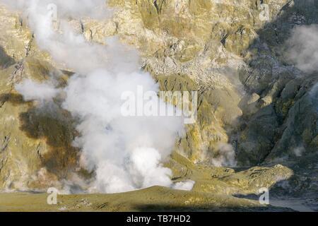 Fumaroles on the volcanic island of White Island, Whakaari, Bay of Plenty, North Island, New Zealand - Stock Photo