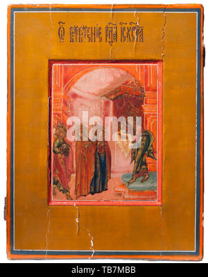 A Russian icon 'Presentation of Jesus at the Temple', 19th century, Egg tempera on wood with a kovcheg depicting Jesus in the temple as a child. Mary and Joseph are present with gifts for the priest, and are also accompanied by Anne, the prophetess and mother of Mary. USA-lot. historic, historical 19th century, Additional-Rights-Clearance-Info-Not-Available - Stock Photo