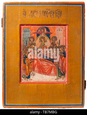 A Russian icon 'The Dormition of Mary', 19th century, Egg tempera on wood with a kovcheg depicting the death of Mary. She is surrounded by the Apostles, and Jesus is in the background receiving her soul as a child. USA-lot. historic, historical 19th century, Additional-Rights-Clearance-Info-Not-Available - Stock Photo