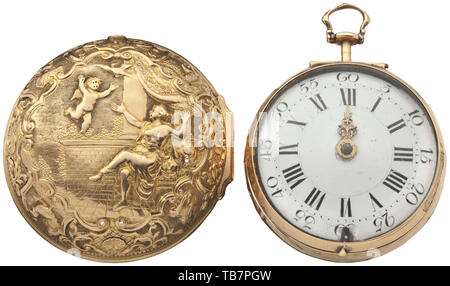A golden verge pocket watch with outer case, Greham, London, 1st half of the 18th century, Gold case stamped and chased with figures and ornaments. Signed full-plate movement with baluster-shaped movement pillars. Chain/snail with finely pierced balance bridge. Enamel face with Roman numerals and minute arc. Enamel with small chippings on the push-button, glass loose, one hand missing. Not checked for functionality or completeness. Diameter 5 cm, weight of the outer case 22 g, overall weight 98 g. historic, historical, Additional-Rights-Clearance-Info-Not-Available - Stock Photo