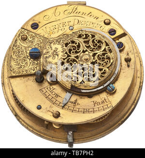 A golden verge pocket watch with outer case, A. Stanton, London, circa 1800, Gold case with multiple stamps. Signed plate movement with round movement pillars. Chain/snail with finely pierced balance bridge. Enamel face with Roman numerals. Clock in functioning order. Diameter 5.7 cm, weight of the outer case 53.5 g, overall weight 173 g. historic, historical 19th century, Additional-Rights-Clearance-Info-Not-Available - Stock Photo