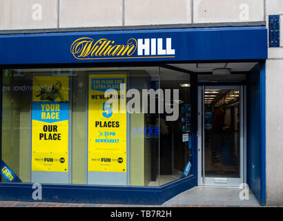 Swindon, United Kingdom - May 04 2019:   The Frontage of William Hill Bookmakers on Regent Street - Stock Photo