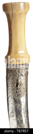 An Ottoman gold-inlaid khanjar, circa 1700, Double-edged blade of wootz Damascus, the cutting edges reinforced, with a medial ridge and gold-inlaid calligraphic cartouches on both sides of the base. The massive handle of walrus ivory, the silver scabbard entirely hammered with floral décor, with a button-shaped finial. Length 37 cm. USA lot. Ottoman, Orient, Oriental, Asia, Asian, historic, historical, Additional-Rights-Clearance-Info-Not-Available - Stock Photo