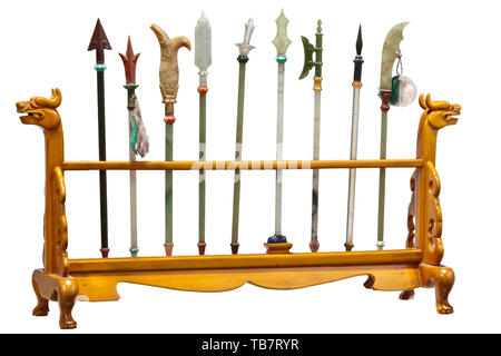 Chinese miniature weapons, 20th century, Three finely carved