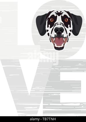 Love Dalmatians -  A dog's head with the word love. The dog is man's best friend and is loved as a pet. - Stock Photo
