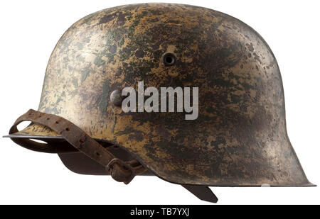 Body armour, helmets, German steel helmet M42, issued 1942, tropic version for the Afrika Korps, Editorial-Use-Only - Stock Photo