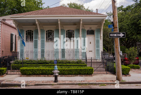 New Orleans, LA, USA -- May 26, 2019.  Photo of traditional house on a corner lot in the Garden District  in New Orleans, LA. - Stock Photo