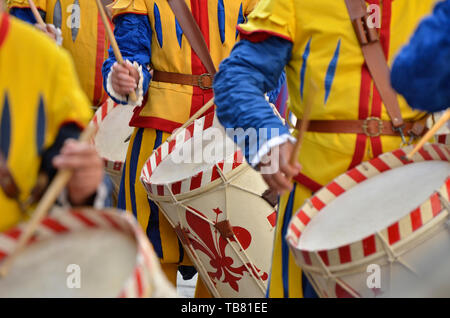 Drum players of the medieval historical procession - Stock Photo
