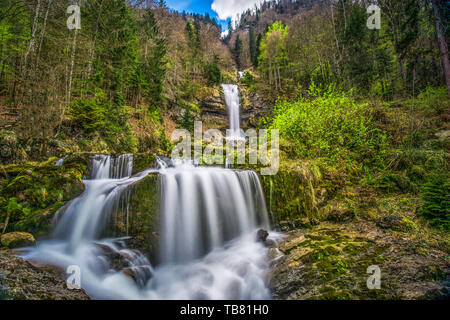 Giessbach waterfall on the Brienzersee near Interlaken, Brienz, Switzerland, Europe. - Stock Photo