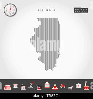 Vector Vertical Lines Pattern Map of Illinois. Striped Simple Silhouette of Illinois. Realistic Compass. Business Infographic Icons. - Stock Photo
