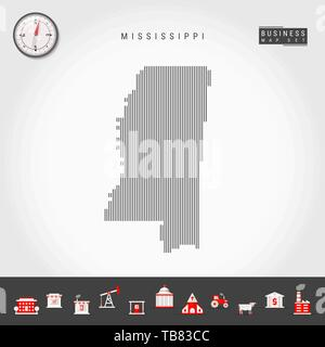 Vector Vertical Lines Pattern Map of Mississippi. Striped Simple Silhouette of Mississippi. Realistic Compass. Business Infographic Icons. - Stock Photo