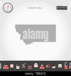 Vector Vertical Lines Pattern Map of Montana. Striped Simple Silhouette of Montana. Realistic Compass. Business Infographic Icons. - Stock Photo