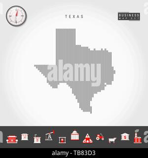 Vector Vertical Lines Pattern Map of Texas. Striped Simple Silhouette of Texas. Realistic Compass. Business Infographic Icons. - Stock Photo