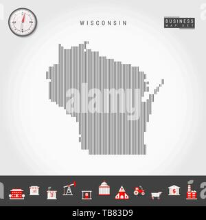 Vector Vertical Lines Pattern Map of Wisconsin. Striped Simple Silhouette of Wisconsin. Realistic Compass. Business Infographic Icons. - Stock Photo