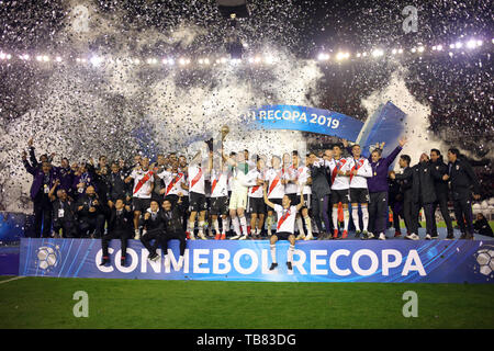 Buenos Aires, Argentina - May 30, 2019: FRiver Plate team celebrating his 12ve international cup in his history in the finals of the Conmebol Recopa i - Stock Photo
