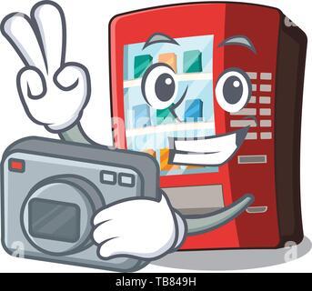 Photographer vending machine next to character door - Stock Photo