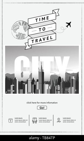 Urban landscape with infographic elements. - Stock Photo