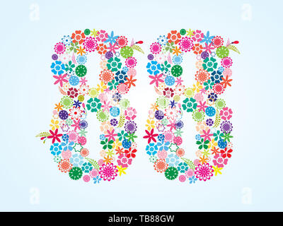 Vector Colorful Floral 88 Number Design isolated on white background. Floral Number Eighty Eight Vector Typeface. - Stock Photo