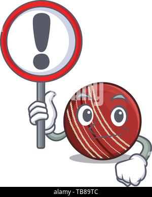 With sign cricket ball in a mascot basket - Stock Photo