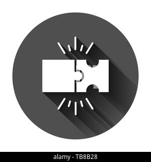 Puzzle compatible icon in flat style. Jigsaw agreement vector illustration on black round background with long shadow. Cooperation solution business c - Stock Photo