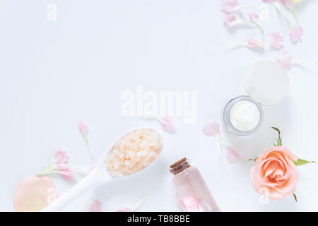 skin care concept. flat lays of skincare remedies style in package with blank label with natural materials isolated on white background - Stock Photo