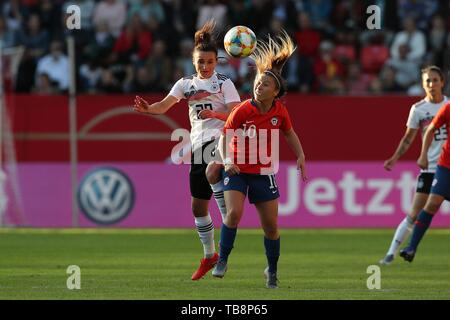 firo: 30.05.2019, Football, Landerspiel, Test match women, Germany - Chile, Lina Magull, Germany, DFB, GER, full figure, duels, Volkswagen, VW, | usage worldwide - Stock Photo
