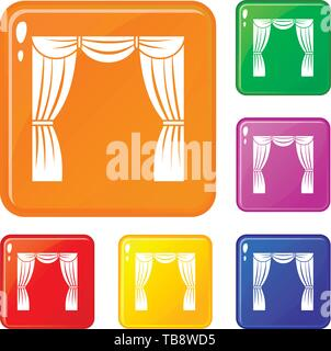 Curtain on stage icons set vector color - Stock Photo