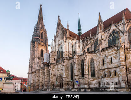 Regensburg cityscape with the  St. Peter's Cathedral (Dom St. Peter or Regensburger Dom), en example of pure German Gothic. Regensburg in one of most  - Stock Photo