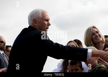 Vice President Mike Pence visits Stewart Air National Guard Base before attending the West Point Graduation Ceremony May 25th, 2019. Pence embraced a crowd before his keynote speech at the 2019 West Point Graduation. - Stock Photo