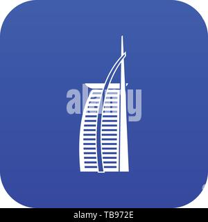 Hotel Burj Al Arab in United Arab Emirates icon digital blue - Stock Photo