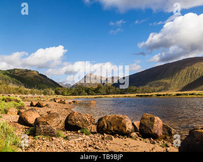 Wide view of Loch Etive in the Glencoe Valley surrounded by the Grampian Mountains, Scotland - Stock Photo