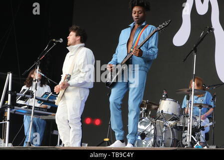 London, UK. Metronomy performing live on stage  on Day Three of the All Points East Festival at Victoria Park in London. 26th May 2019.   Ref:LMK73-2504-280519 Keith Mayhew/Landmark Media WWW.LMKMEDIA.COM - Stock Photo