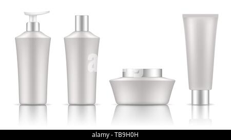 Set of tubes template for cosmetics, cream or medical ointment. Realistic vector mockup isolated on white background. Clear plastic and frosted glass. - Stock Photo