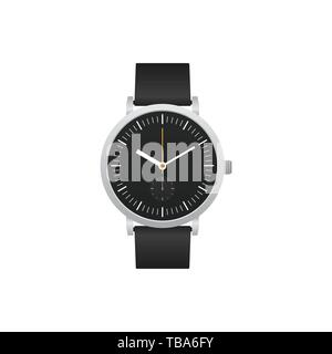 Classic watch with black leather strap isolated on white background, vector illustration - Stock Photo