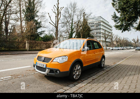Strasbourg, France- Feb 19, 2017: New beautiful Volkswagen Cross Polo car parked on French street - Stock Photo