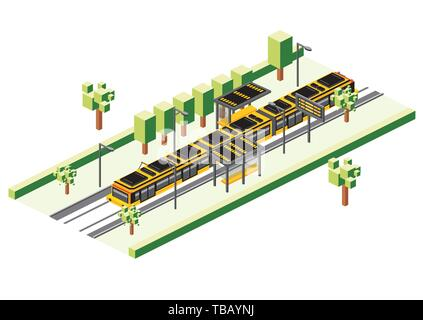 Isometric Tram Station Isolated on White. Vector Illustration. Railway Electric Train. City Scene with Road and Green Tree. - Stock Photo