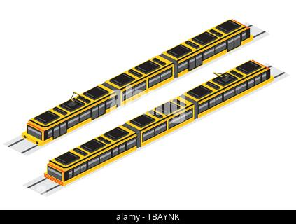 Isometric Tram Isolated on White. Vector Illustration. Railway Electric Train. Forward and Backward. - Stock Photo