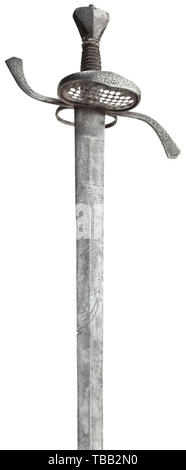 A German campaign sabre for officers, circa 1630 Double-edged blade of diamond section, each side with an etched Turk's head, Malchus with hand surmounting the Latin inscription 'Vincere aut Mori'. The base of the blade on both sides with the inscription (tr) 'With this blade and God's will - I shall silence my foes'. Hilt chiselled with a floral design at front, guard plate with star-shaped openwork and thumb ring at back. Wire-bound grip of later date, iron wire Turk's heads and pommel chiselled en suite at front. The edges with minor notches (, Additional-Rights-Clearance-Info-Not-Available - Stock Photo