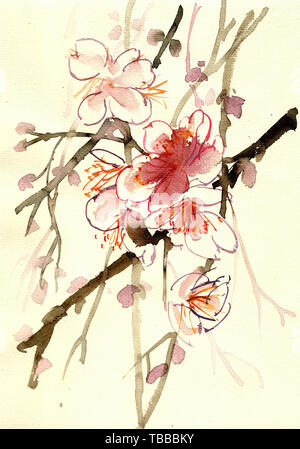 Peach blossom watercolor art ten miles peach blossom wedding Chinese painting style ink painting hand drawn spring watercolor painting flowers - Stock Photo