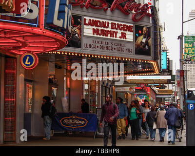 New York - United States, May 21 - 2015  People walking in the street and King Blues Club & Grill in New Yor - Stock Photo