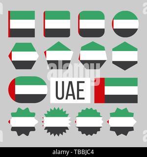 United Arab Emirates Flag Collection Set Vector - Stock Photo
