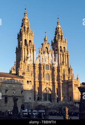 Santiago de Compostela Cathedral. Baroque facade architecture. Galicia Spain