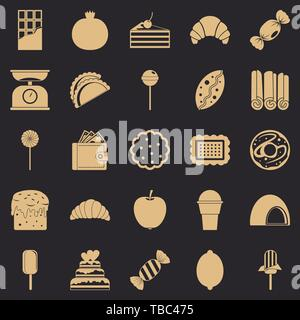 Ice cream parlor icons set, simple style - Stock Photo