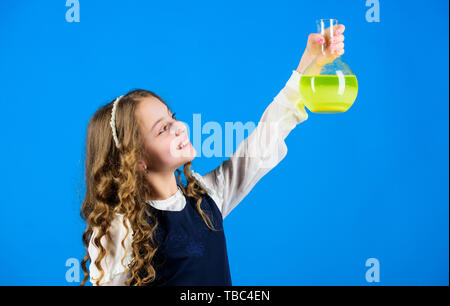 science research in lab. Small school girl. child study bilogy lesson. back to school. education and knowledge. Future. small girl scientist with testing flask. Student preparing to the exams. - Stock Photo