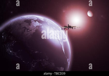 3D rendering of a space Station orbiting the Earth - Stock Photo